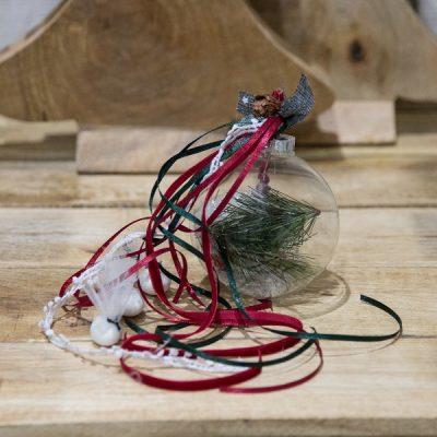 χριστουγεννιάτικη μπομπονιέρα διάφανη γυάλινη μπάλα