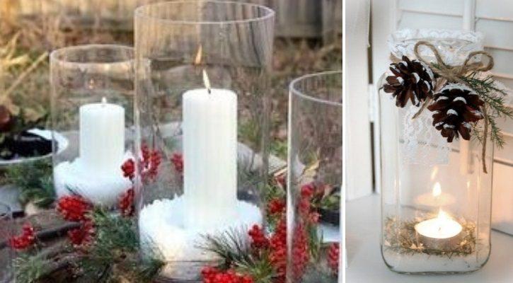 Βάζο με κερί και χιόνι