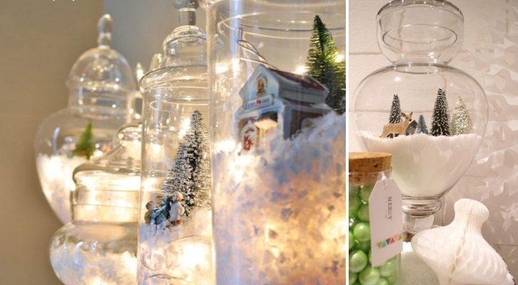 Βάζο με χριστουγεννιάτικες φιγούρες και διακοσμητικά