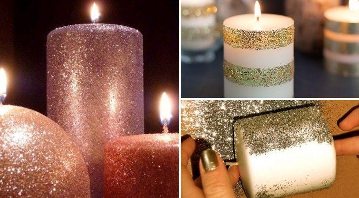 Χριστουγεννιάτικα κεριά με χρυσόσκονες