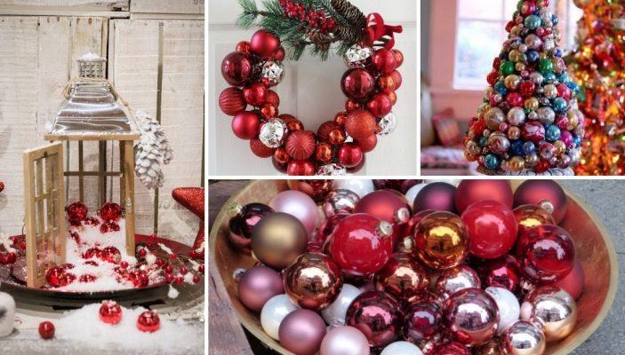ιδεες για διακόσμηση με χριστουγεννιάτικες μπάλες