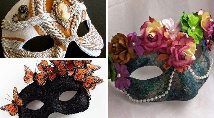 Αποκριάτικη μάσκα με λουλούδια και διακοσμητικά