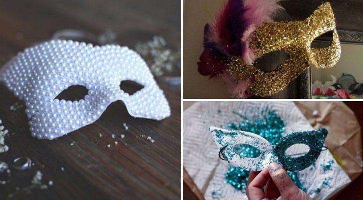 Αποκριάτικη μάσκα με πέρλες και χρυσόσκονες
