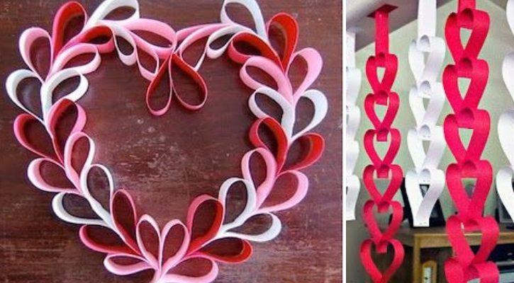 Στεφάνι καρδιά από ρολό χαρτιού