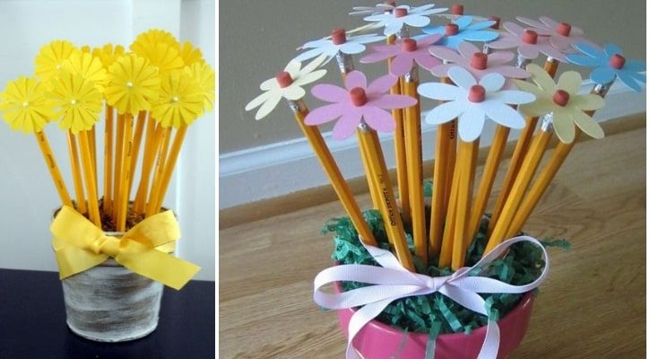 Κασπώ με λουλούδια από μολύβια δώρα για δασκάλους