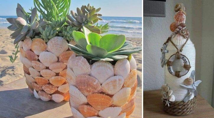 Βάζο λουλουδιών με κοχύλια
