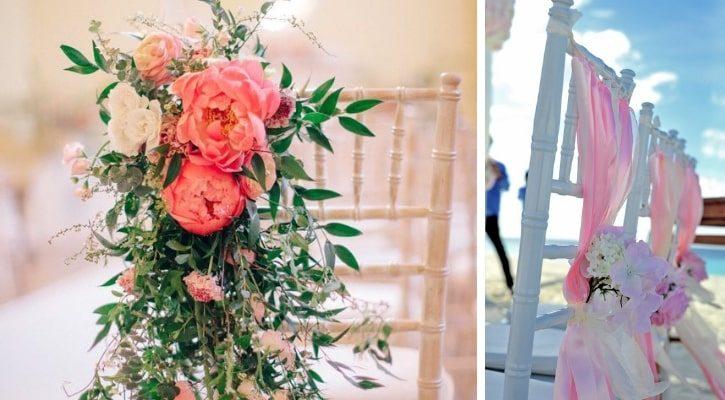 Καρέκλα γάμου με μπουκέτα λουλουδιών