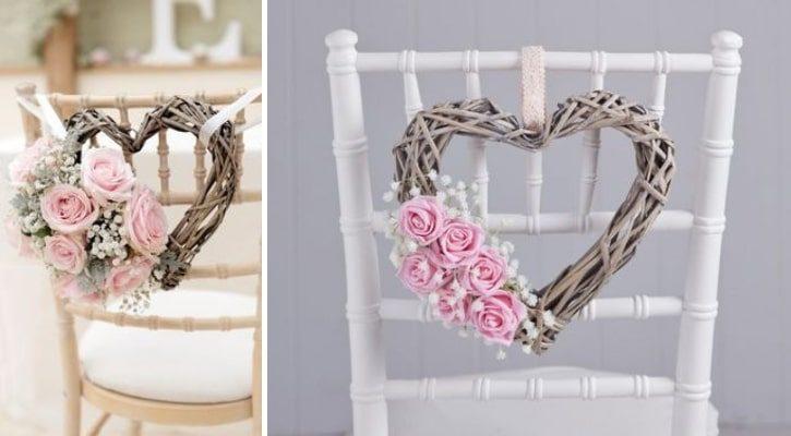Καρέκλα γάμου με στεφάνι βέργινο με λουλούδια