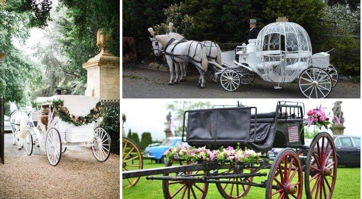Ρομαντική μεταφορά νύφης με άμαξα στην εκκλησία