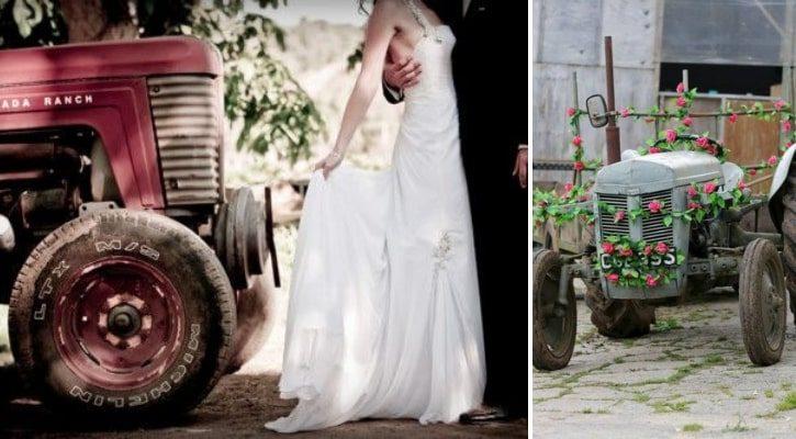 Μεταφορά της νύφης με τρακτέρ στην εκκλησία