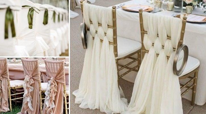 Στολισμός καρέκλας γάμου με υφάσματα