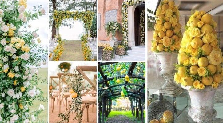 Ανθοστολισμός γάμου με λεμόνια