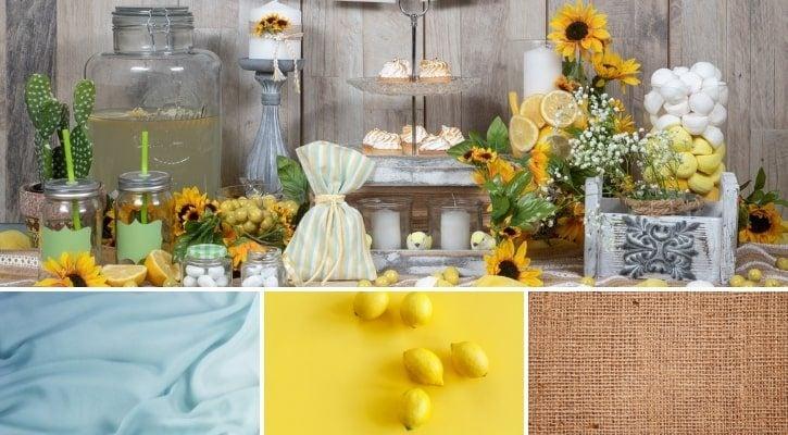 Γάμος με θέμα λεμόνι χρώματα και υφάσματα