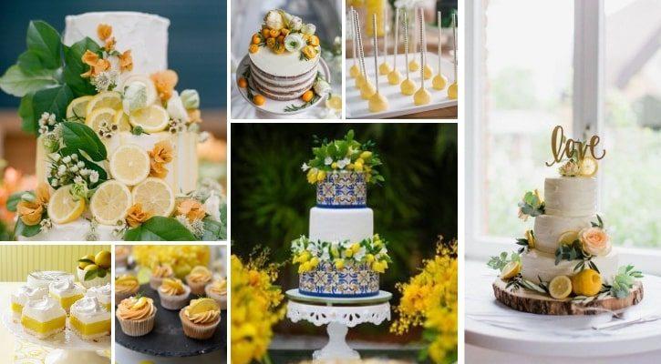 Γλυκά και τούρτα γάμου με θέμα λεμόνια