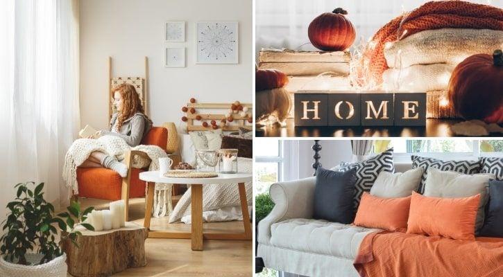 Φθινοπωρινή διακόσμηση σπιτιού με κουρτίνες, μαξιλάρια και υφάσματα