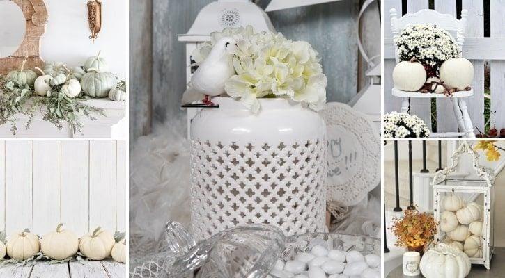 Λευκή φθινοπωρινή διακόσμηση βιτρίνας