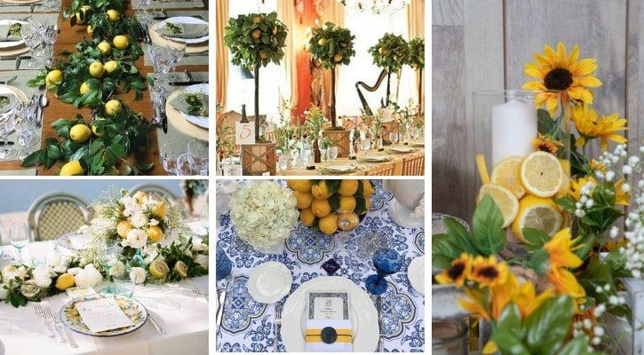 Στολισμός τραπεζιού γάμου με λεμόνια