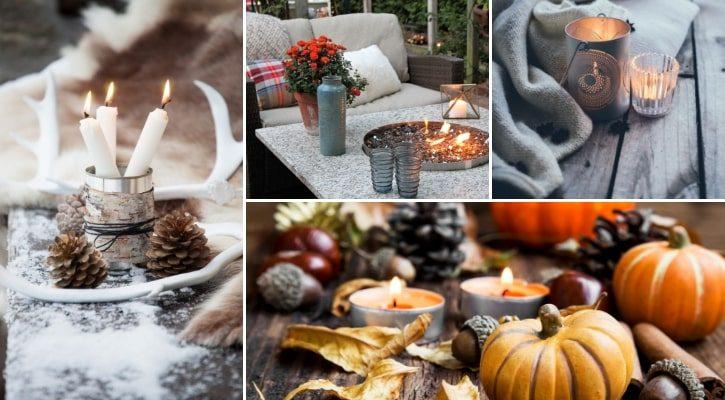 Φθινοπωρινή διακόσμηση με votive και κεριά