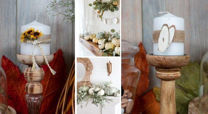 Φθινοπωρινή διακόσμηση σπιτιού με κηροπήγια για το τζάκι