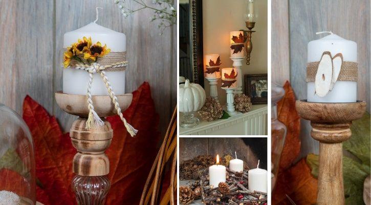 Φθινοπωρινή διακόσμηση τζακιού με κηροπήγια