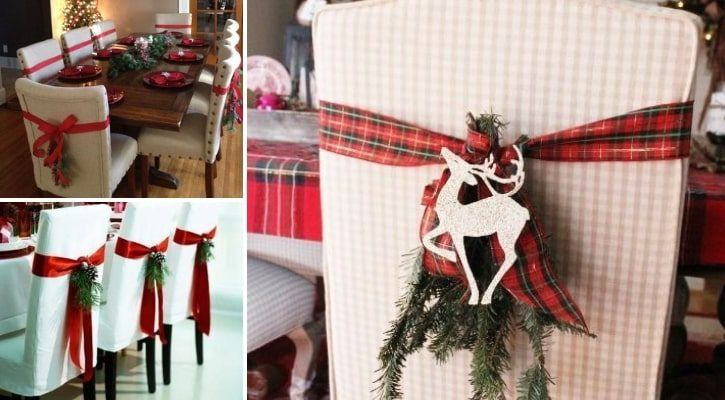 Χριστουγεννιάτικες κορδέλες στις καρέκλες