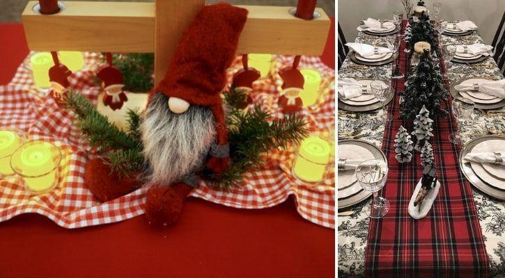 Εορταστικό τραπεζομάντηλο από παλιά χριστουγεννιάτικα υφάσματα