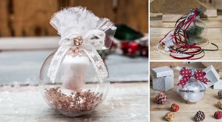 Μπομπονιέρες με χριστουγεννιάτικες μπάλες γυάλινες