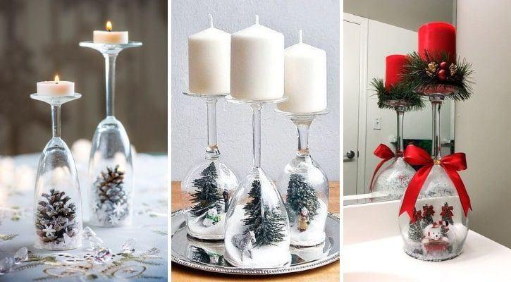 Πρωτοχρονιάτικα κηροπήγια από ποτήρια