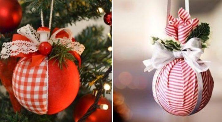 Χριστουγεννιάτικες μπάλες με κορδέλες και υφάσματα - Πώς να ανανεώσω Παλιά Χριστουγεννιάτικα Στολίδια