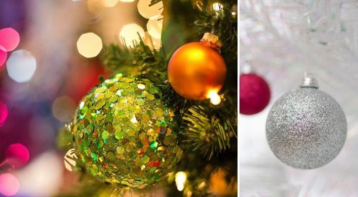 Χριστουγεννιάτικες μπάλες με χρυσόσκονη