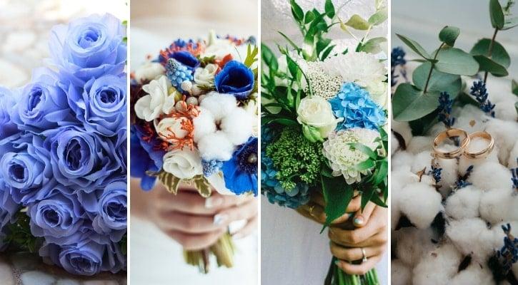 Γάμος 2020 σε μπλε χρώμα ανθοδέσμη νύφης