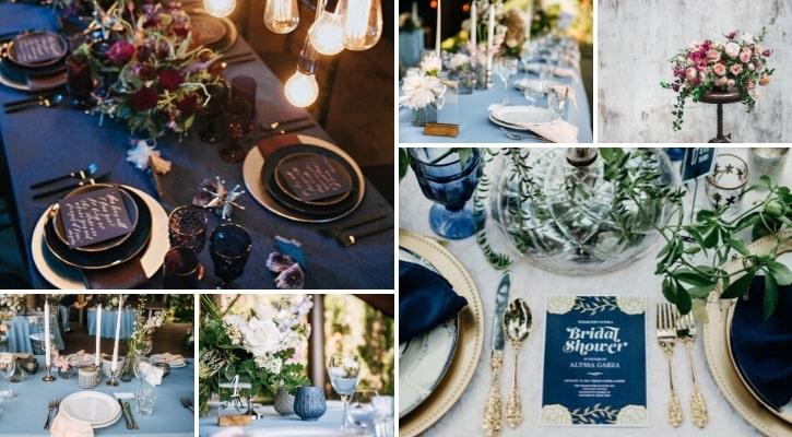 Στολισμός δεξίωσης γάμου σε μπλε χρώμα