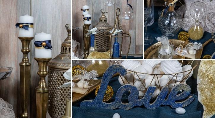 Τραπέζι ευχών γάμου κλασικό μπλε