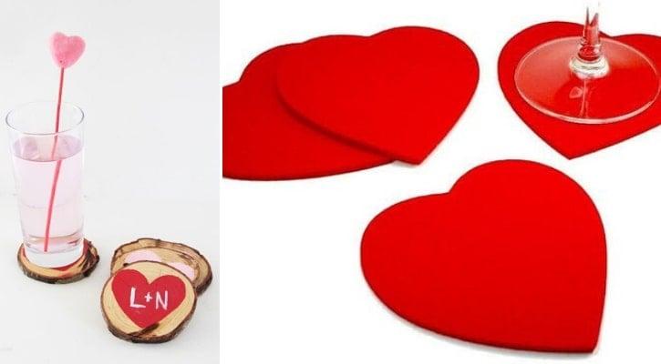DIY Κατασκευές Αγίου Βαλεντίνου Σουβέρ με καρδιές