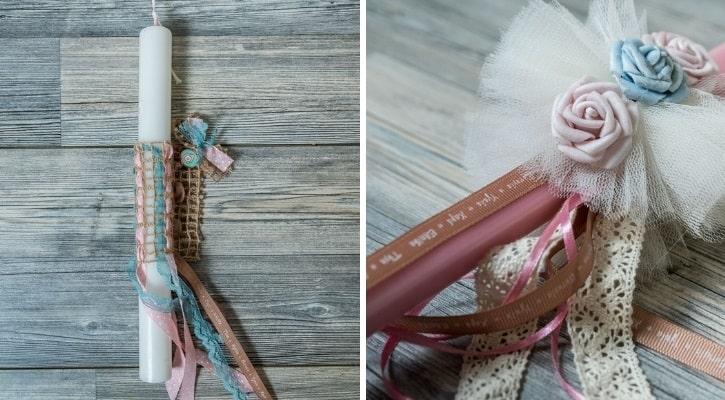 Πασχαλινή λαμπάδα με κορδέλες σε παλ χρωματισμούς