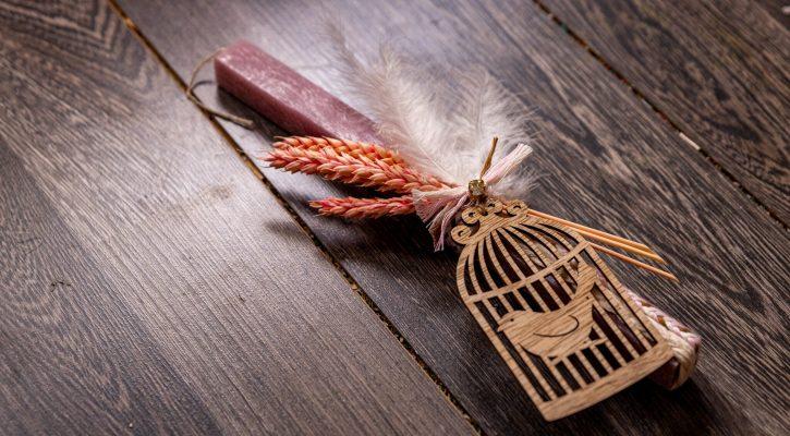 Ρουστίκ πασχαλινή λαμπάδα με στάχυα