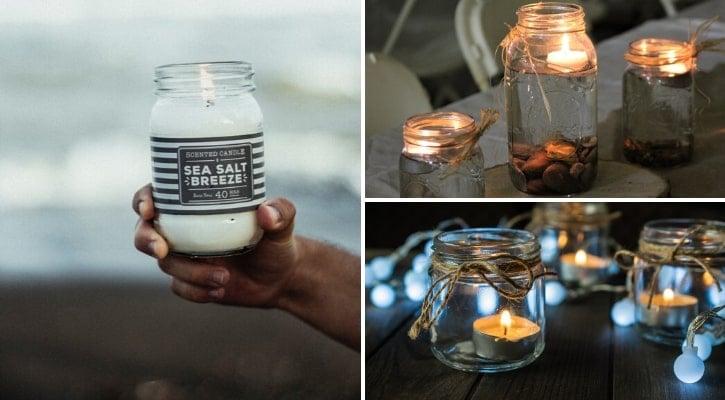 Γυάλινα βαζάκια με κερί