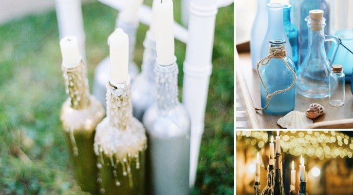 Καλοκαιρινά γυάλινα μπουκάλια με κερί