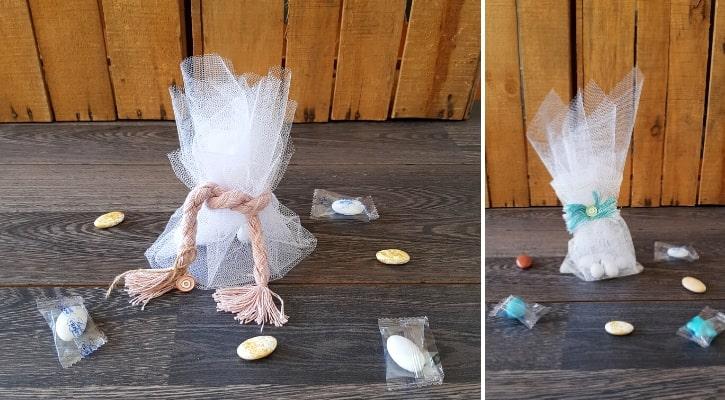 Μπομπονιέρα γαμοβάπτισης με τούλινο πουγκί, κορδόνι και ματάκι