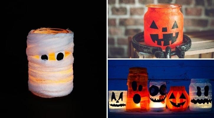 Ιδέες Διακόσμησης για Halloween DIY φαναράκια μούμιες