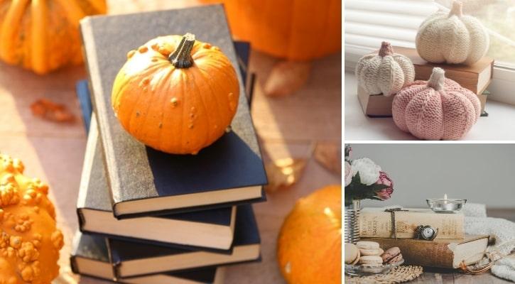 Βιβλία με φθινοπωρινά διακοσμητικά