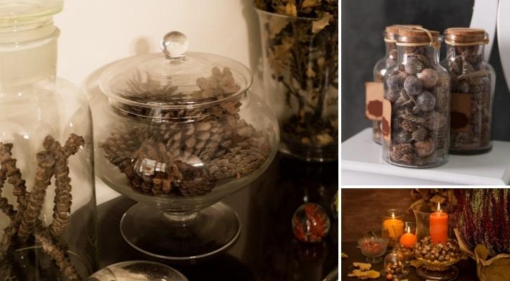 Γυάλες με βελανίδια και κουκουνάρια Οικονομικές Ιδέες για Φθινοπωρινή Διακόσμηση με Γυάλες