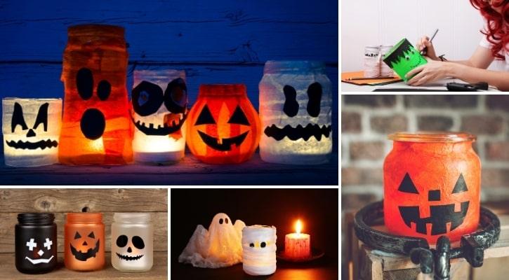 Γυάλινα βαζάκια με στοιχεία Halloween