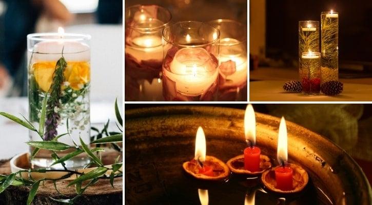 Γυάλινα είδη με επιπλέοντα κεριά και κλαδιά