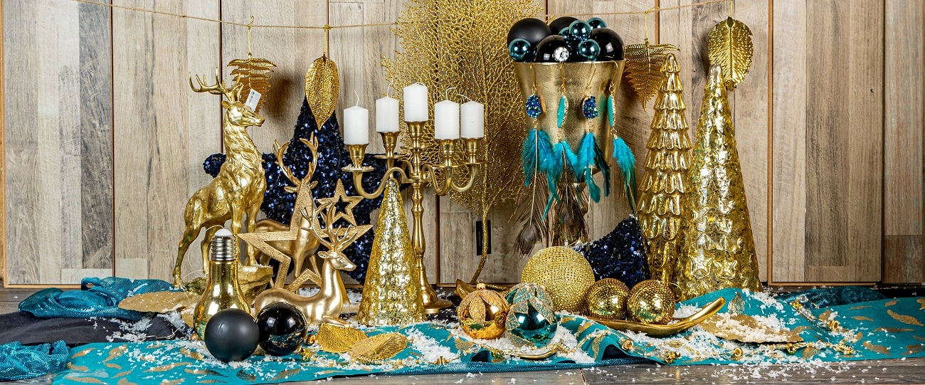 glamour χριστουγεννιατικη διακοσμηση πετρολ χρυσο